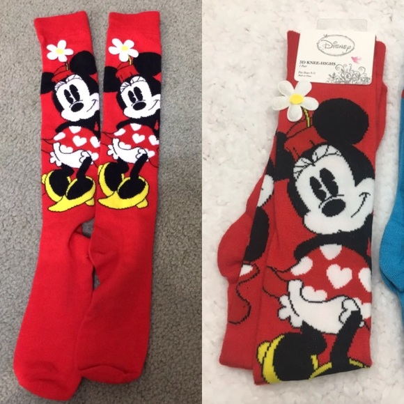 Disney Accessories - Long Minnie Mouse 3D Flower Socks DISNEY